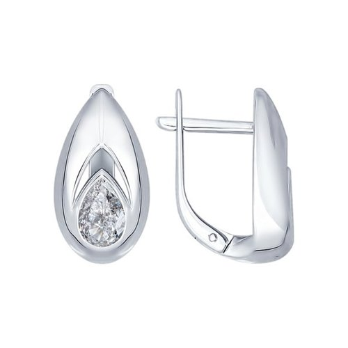 Серьги из серебра с фианитами