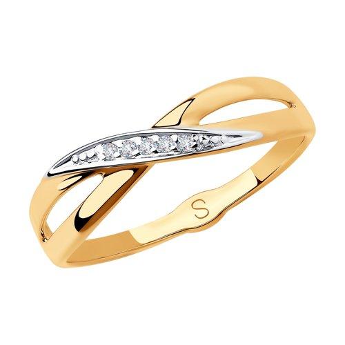 Кольцо из золота с фианитами (018210) - фото