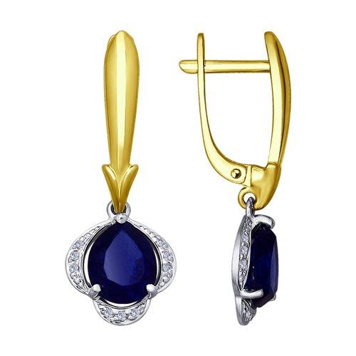 Серьги из комбинированного золота с бриллиантами и корундами (синт.)