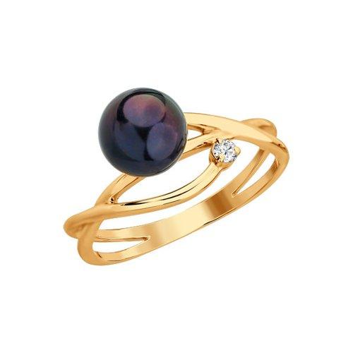 Золотое кольцо с бриллиантом и чёрным жемчугом SOKOLOV