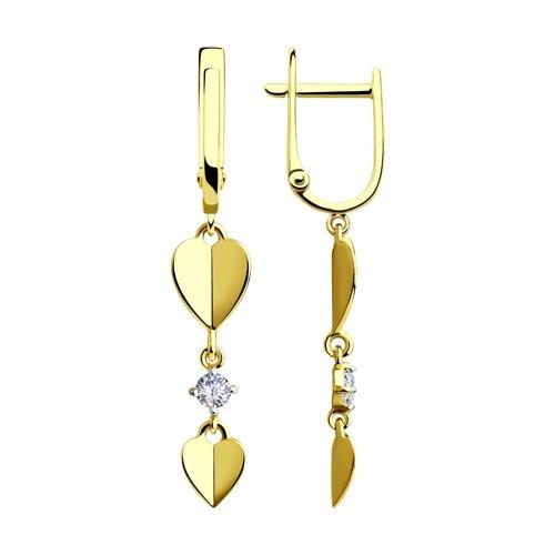 Серьги из желтого золота с фианитами (028559-2) - фото