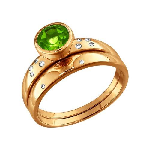 Золотое кольцо с хризолитом и фианитами SOKOLOV золотое кольцо ювелирное изделие 01k684711ul