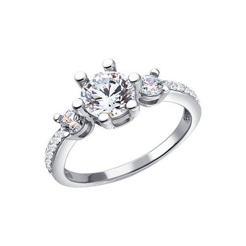 Белое кольцо с кристаллами Swarovski