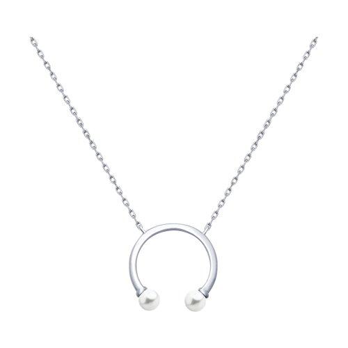 Колье из серебра с жемчугом Swarovski (94070183) - фото