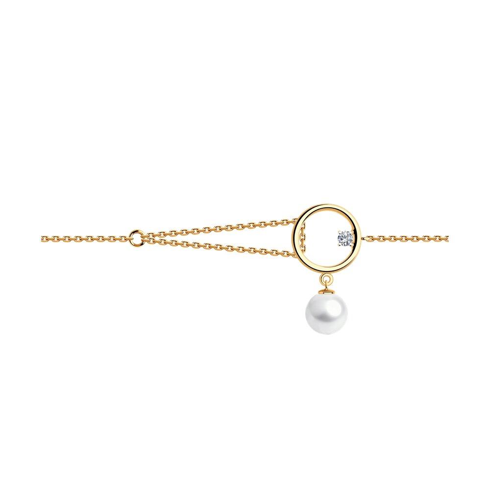 Браслет SOKOLOV из золота с жемчугом и фианитом браслет из золота с жемчугом