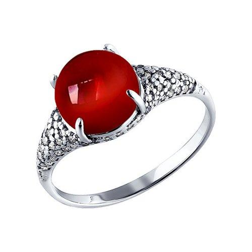 Серебряное кольцо с гранатом круглой формы SOKOLOV