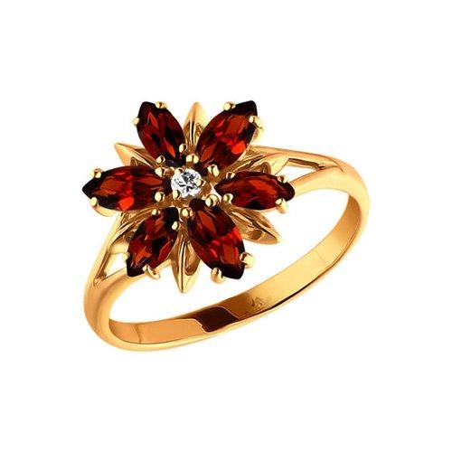 Золотое кольцо с цветком выложенным гранатами SOKOLOV золотое кольцо ювелирное изделие 01k663088