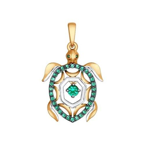 Подвеска из золота «Черепаха» с зелеными фианитами