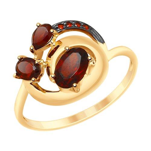 Кольцо из золота с гранатами и фианитами (715182) - фото
