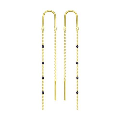 Серьги из желтого золота с эмалью (027792-2) - фото