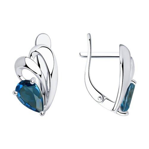 Серьги из серебра с синими топазами (92021770) - фото