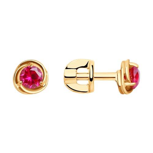 Серьги из золота с красными корундами (синт.) (725414) - фото