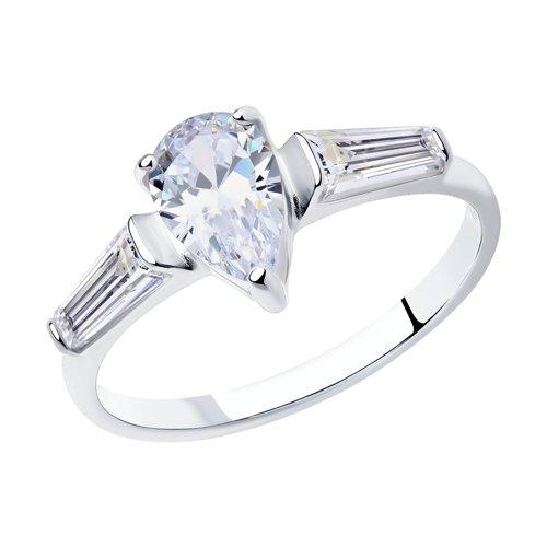 Кольцо из серебра с фианитами (94012745) - фото