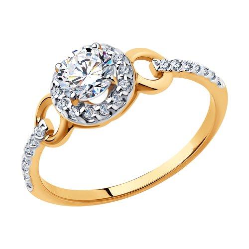 Кольцо из золота с фианитами Сваровски 81010463 sokolov фото