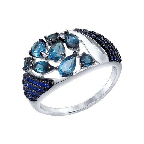 Кольцо из серебра с топазами и синими фианитами (92011342) - фото
