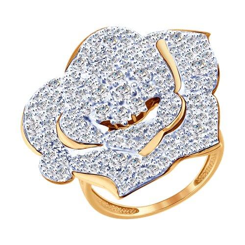 Кольцо из золота с фианитами (017895) - фото
