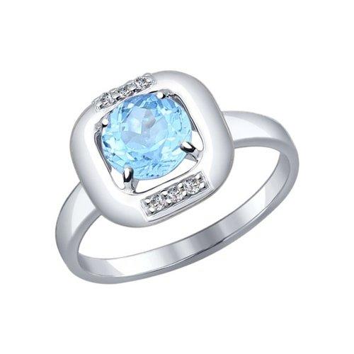 Кольцо из серебра с топаз sky ситаллом и фианитами