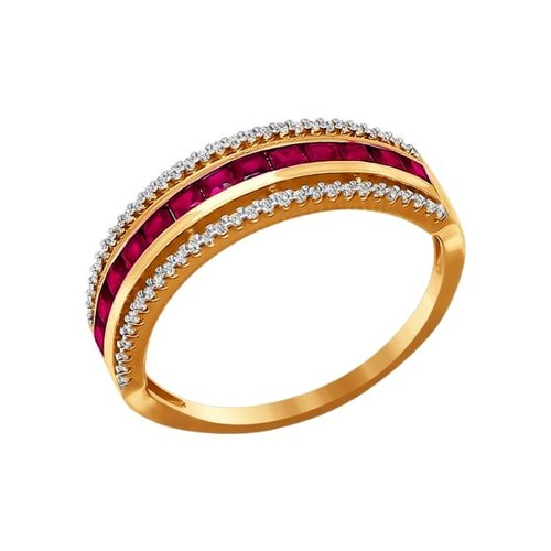 Золотое кольцо с красными фианитами SOKOLOV золотое кольцо love sokolov