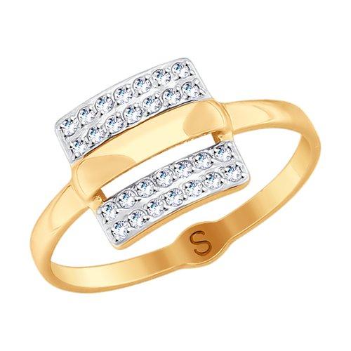 Кольцо из золота с фианитами (018048) - фото