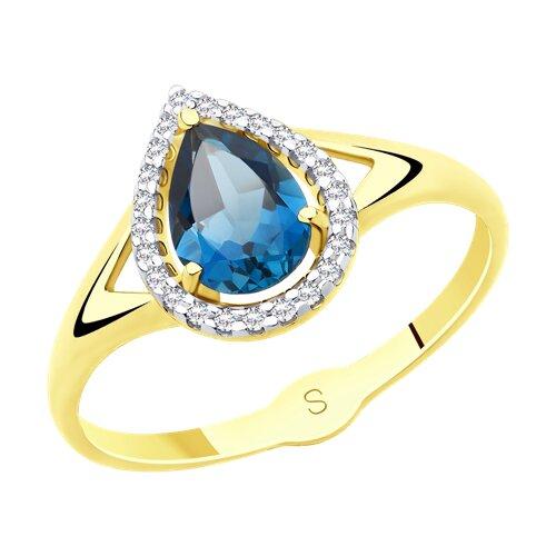 Кольцо из желтого золота с синим топазом и фианитами (715522-2) - фото
