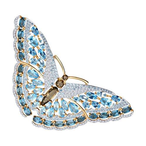 Брошь «Бабочка» с топазами