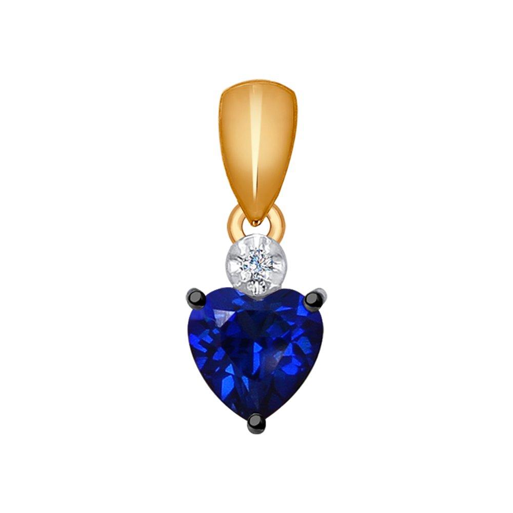Подвеска «Сердце» SOKOLOV из золота с бриллиантом и корундом