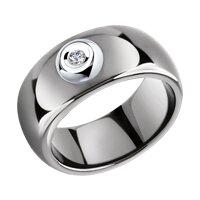 Керамическое кольцо с белым золотом и бриллиантом