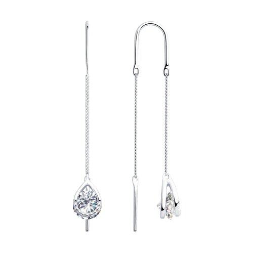 Серьги из серебра с фианитами (94023281) - фото