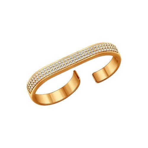 Кольцо на два пальца из золочёного серебра с фианитами