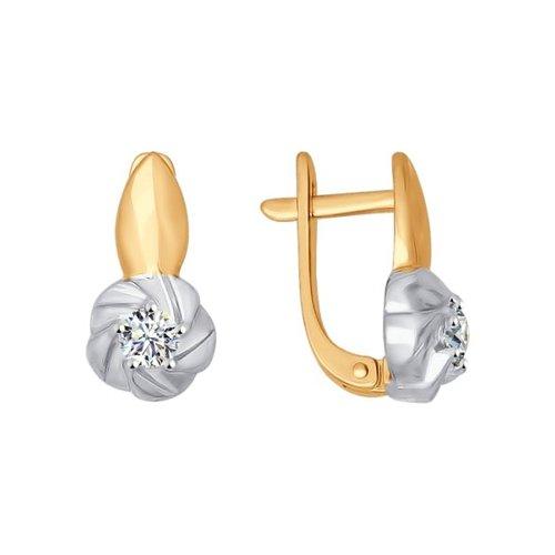 Серьги из золота с фианитами (026898) - фото