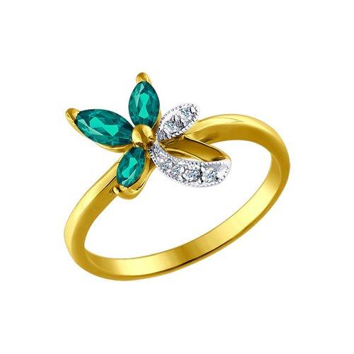 Фото - Кольцо SOKOLOV из жёлтого золота с бриллиантами и изумрудами кольцо цветок с изумрудами и бриллиантами из жёлтого золота 750 пробы