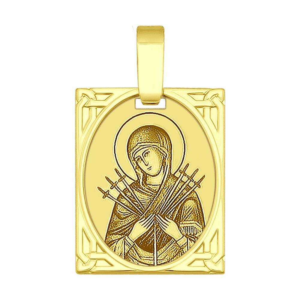 Золотая иконка «Икона Божьей Матери Семистрельная» SOKOLOV
