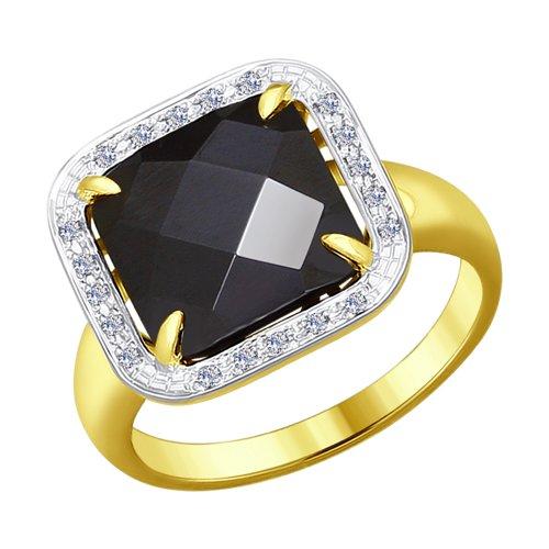 Кольцо из желтого золота с бриллиантами и чёрным керамической вставкой (6015041-2) - фото