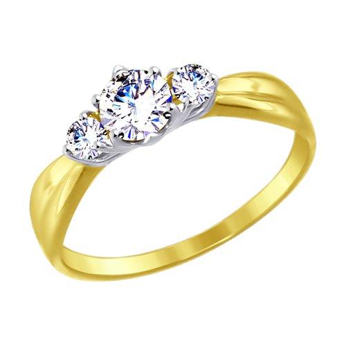 Кольцо из желтого золота с фианитами (017496-2) - фото