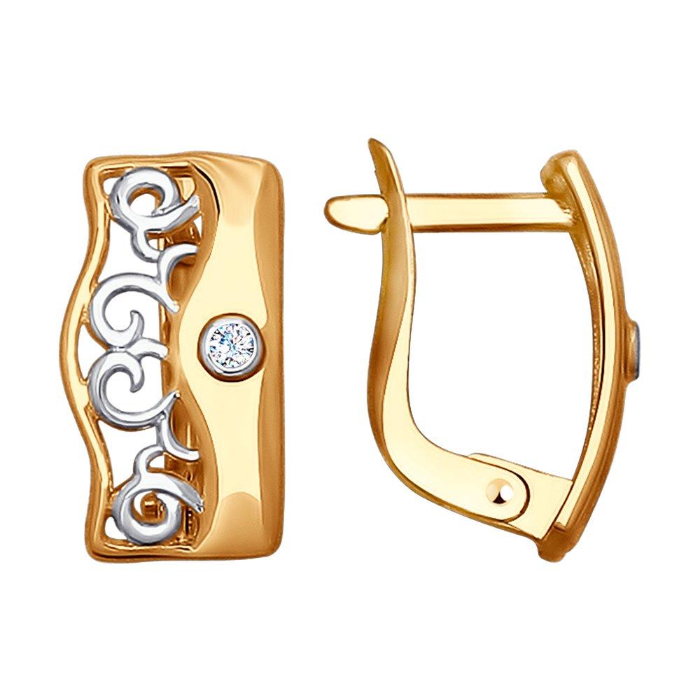 Серьги SOKOLOV из золота с фианитами серьги с английским замком из золота 01с164644