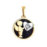 Подвеска «Ангел» из золота с авантюрином и бриллиантом