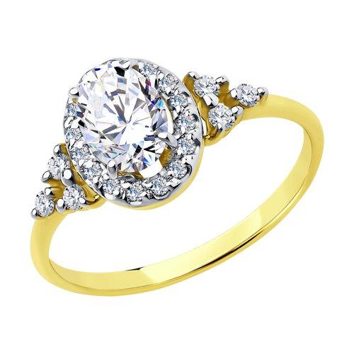 Кольцо из желтого золота с фианитами Сваровски