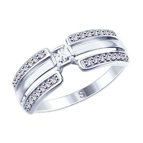 Кольцо из серебра с фианитами (94012645) - фото