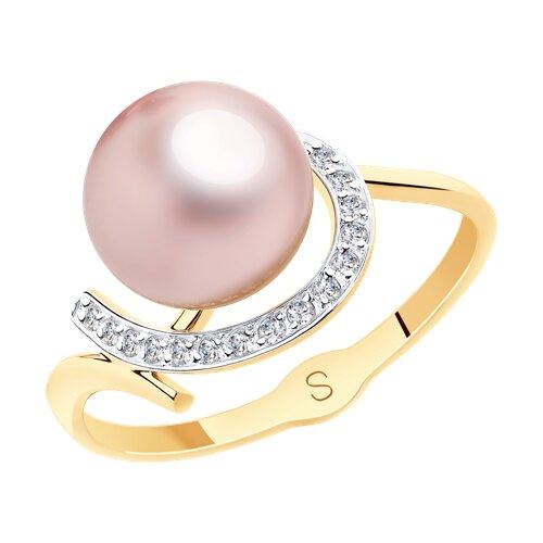 Кольцо из золота с розовым жемчугом и фианитами (791129) - фото