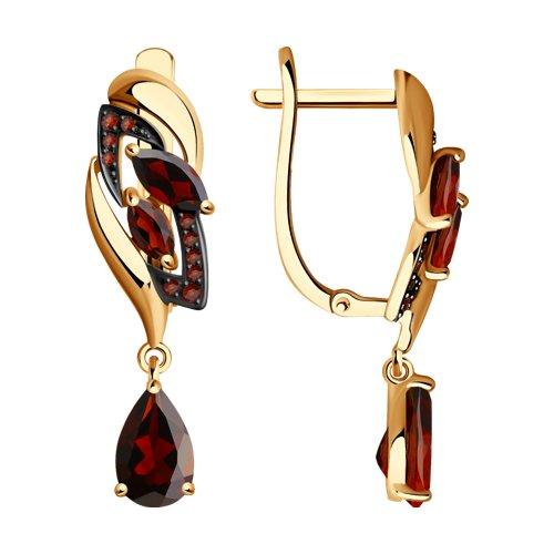 Серьги длинные из золота с гранатами и красными фианитами (725065) - фото
