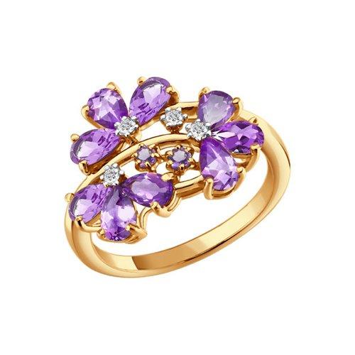 Кольцо SOKOLOV из золота c фианитами и аметистами «Сирень» стоимость