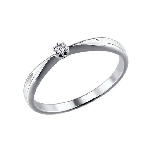 Помолвочное кольцо из белого золота с бриллиантом (1011344) - фото