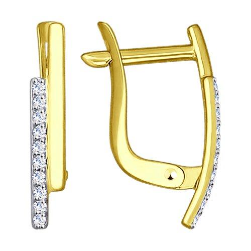 Серьги из желтого золота с фианитами (027156-2) - фото