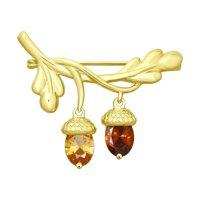 Брошь из желтого золота с жёлтым Swarovski Zirconia