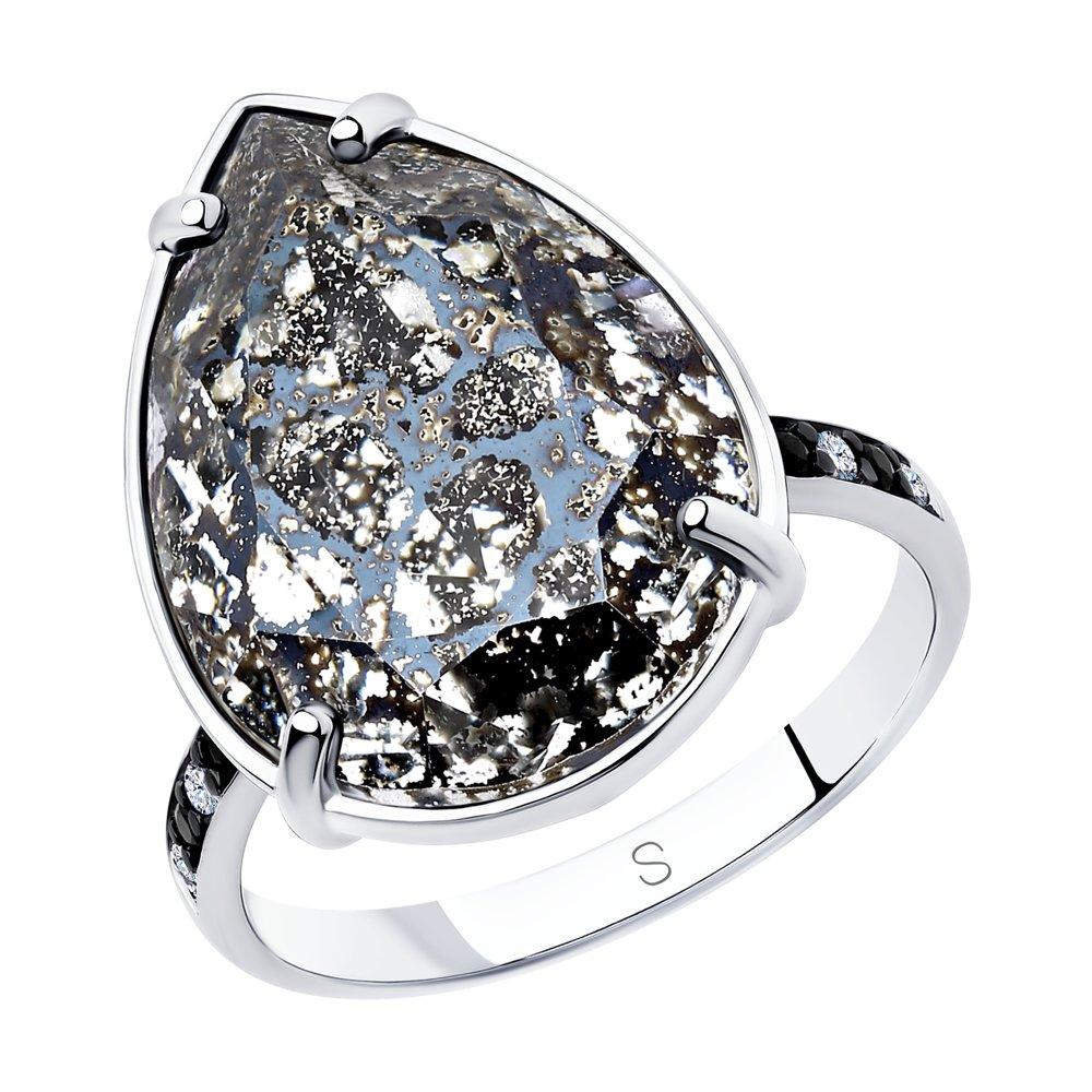 Фото - Кольцо SOKOLOV из серебра с чёрным кристаллом Swarovski и фианитами sokolov кольцо из серебра с чёрным кристаллом swarovski 94012037 размер 19 5