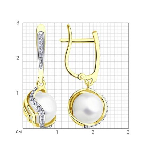 Серьги из желтого золота с бриллиантами и жемчугом 8020077-2 SOKOLOV фото 2