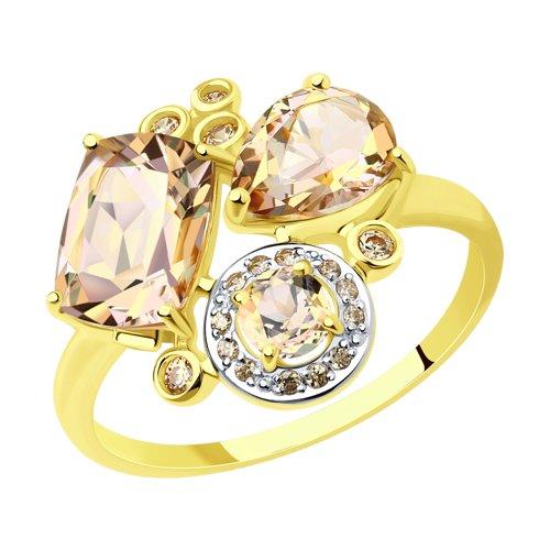 Кольцо из желтого золота с розовыми топазами Swarovski и жёлтыми Swarovski Zirconia (715020-2) - фото