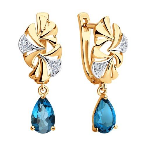 Серьги из золота с синими топазами и фианитами (726187) - фото №2