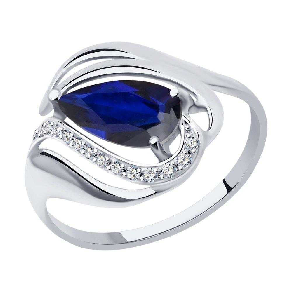 Кольцо SOKOLOV из белого золота с синим корундом (синт.) и фианитами кольцо из серебра с синим корундом синт и фианитами