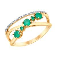 Кольцо из золота с агатами и фианитами